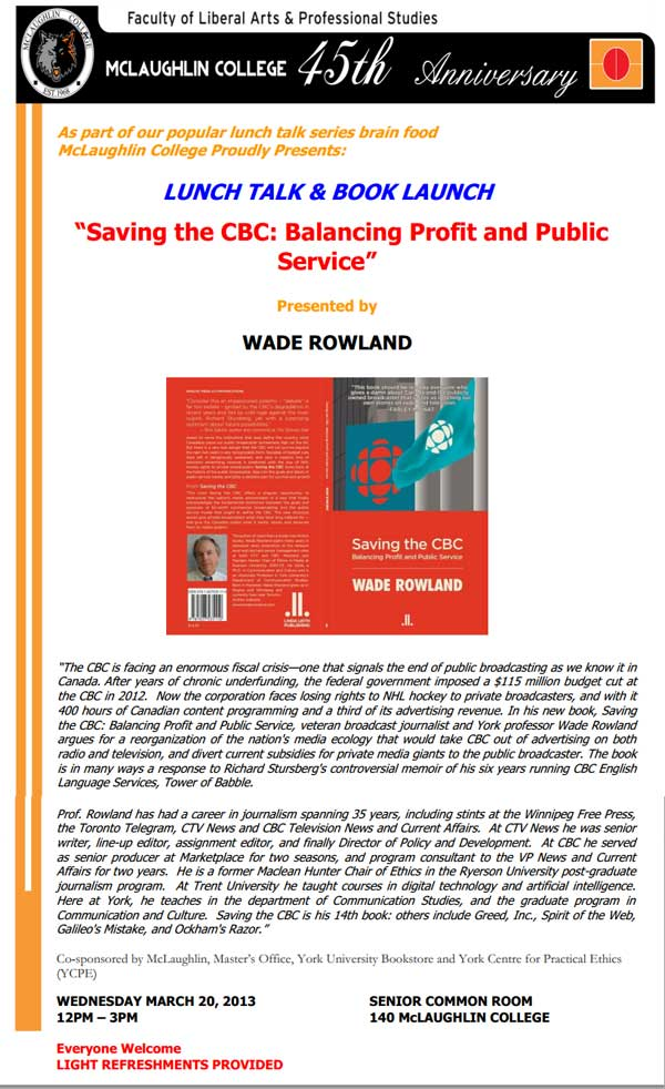 Book Reading - Saving the CBC - Balancing Profit and Public Service by author Wade Rowland